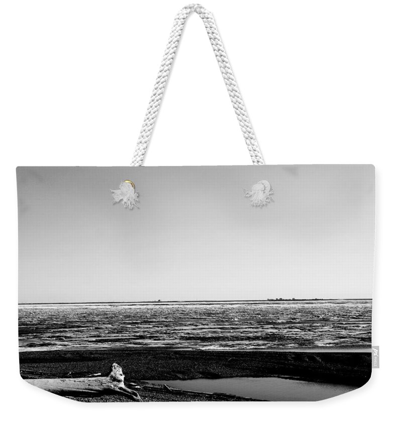 Landscape Weekender Tote Bag featuring the photograph Driftwood On Arctic Beach Balck And White by Anthony Jones
