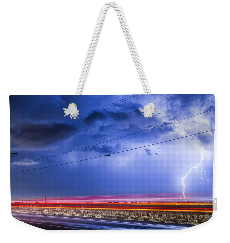 Lightning Weekender Tote Bag featuring the photograph Drive By Lightning Strike by James BO Insogna