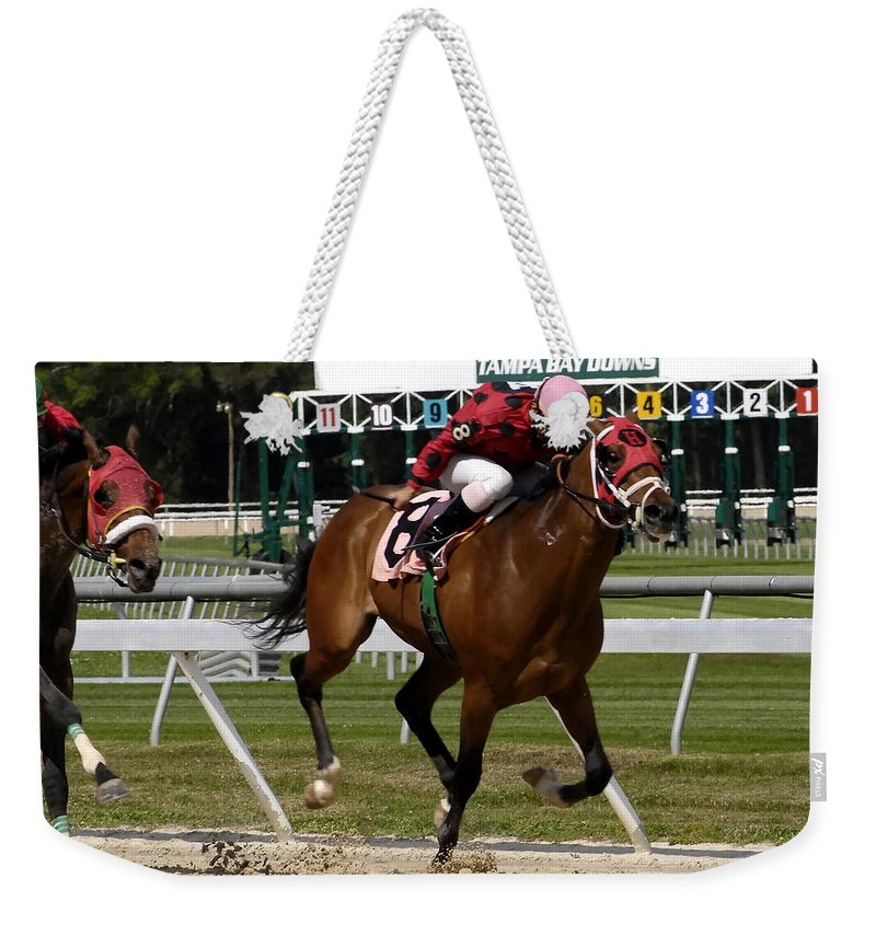 Horse Racing Weekender Tote Bag featuring the photograph Drive by David Lee Thompson