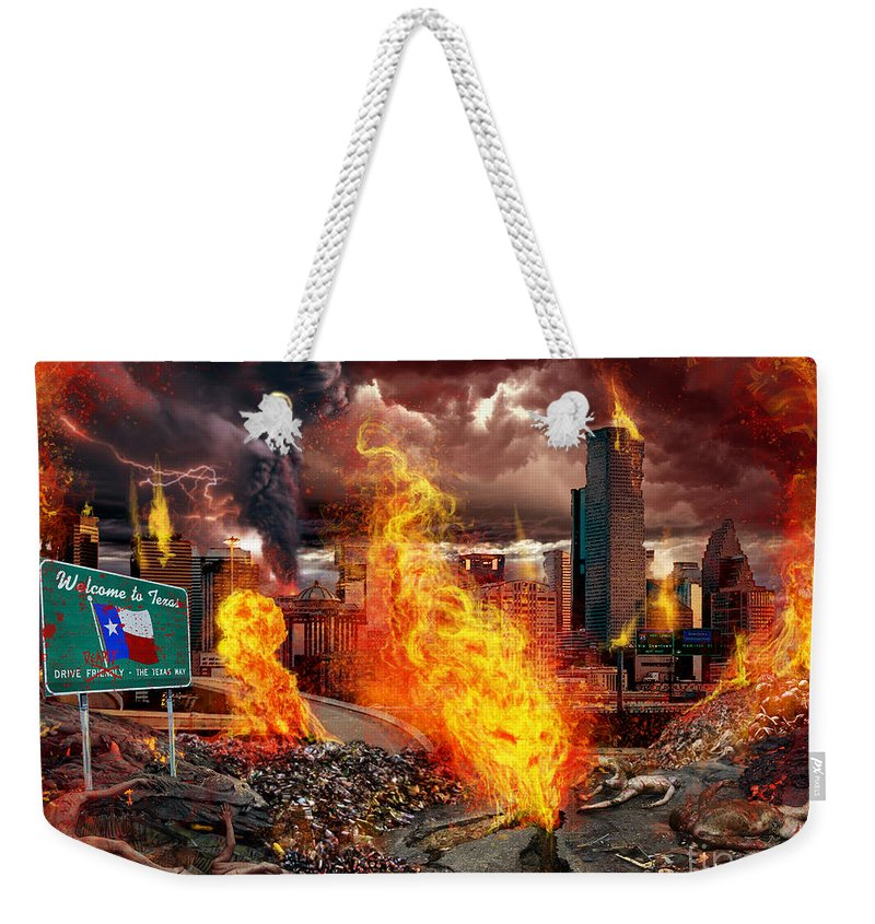 Tony Koehl Weekender Tote Bag featuring the mixed media Drive Deadly by Tony Koehl