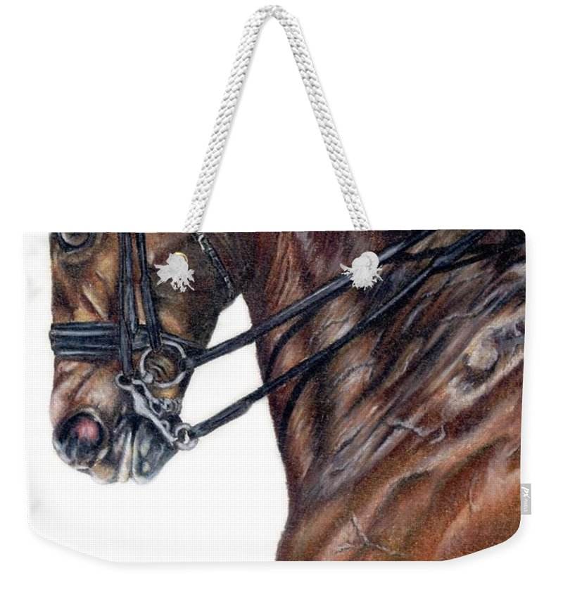 Horse Weekender Tote Bag featuring the drawing Driven by Kristen Wesch