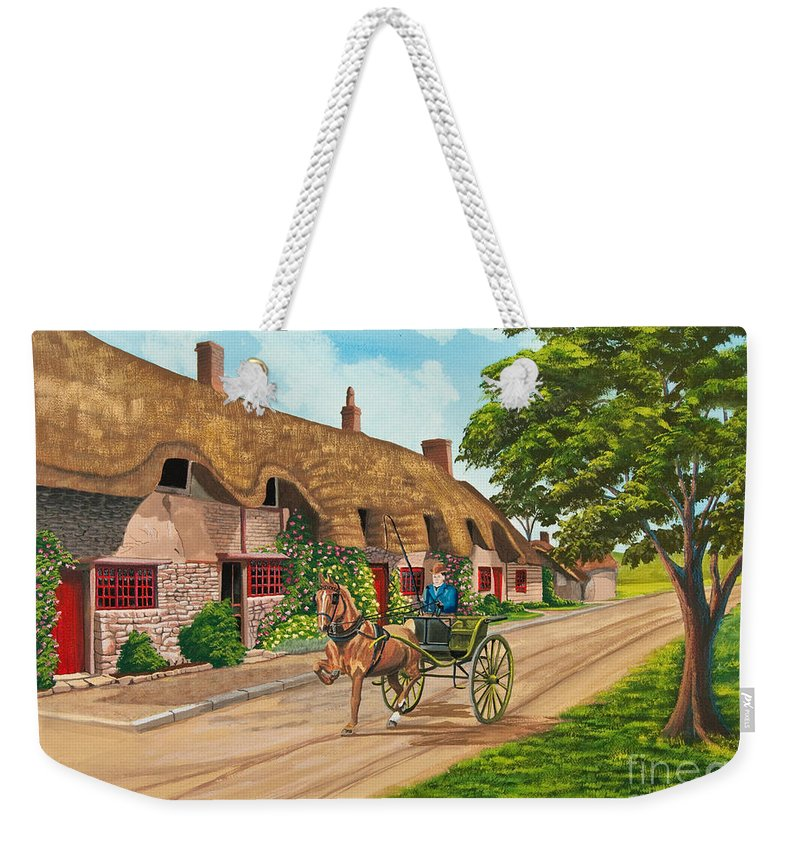 English Painting Weekender Tote Bag featuring the painting Driving A Jaunting Cart by Charlotte Blanchard