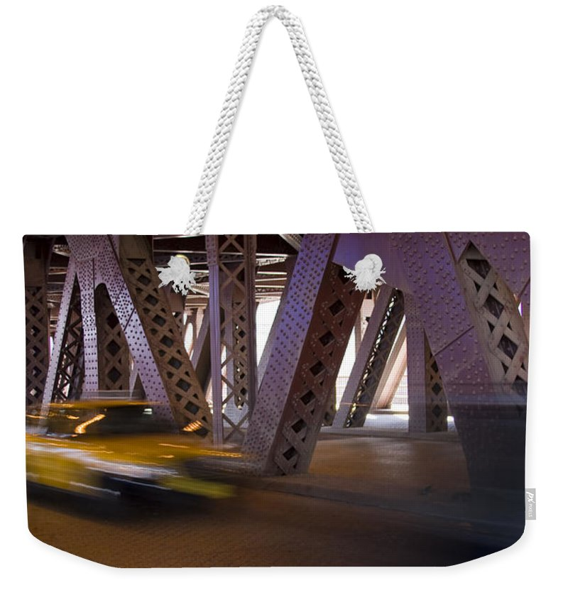 Chicago Windy City Bridge Steel Metal Taxi Street Road Fast Metro Urban Weekender Tote Bag featuring the photograph Driving Fast by Andrei Shliakhau