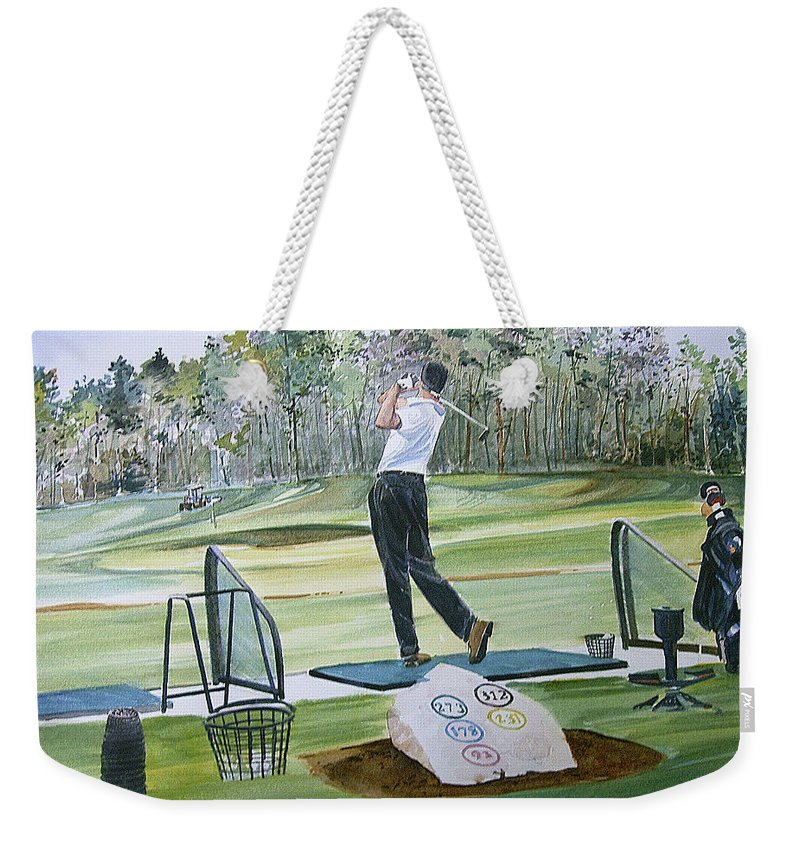 Golfing Weekender Tote Bag featuring the painting Driving Pine Hills by P Anthony Visco