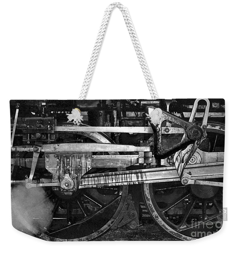 Trains Weekender Tote Bag featuring the photograph Driving Wheels by Richard Rizzo