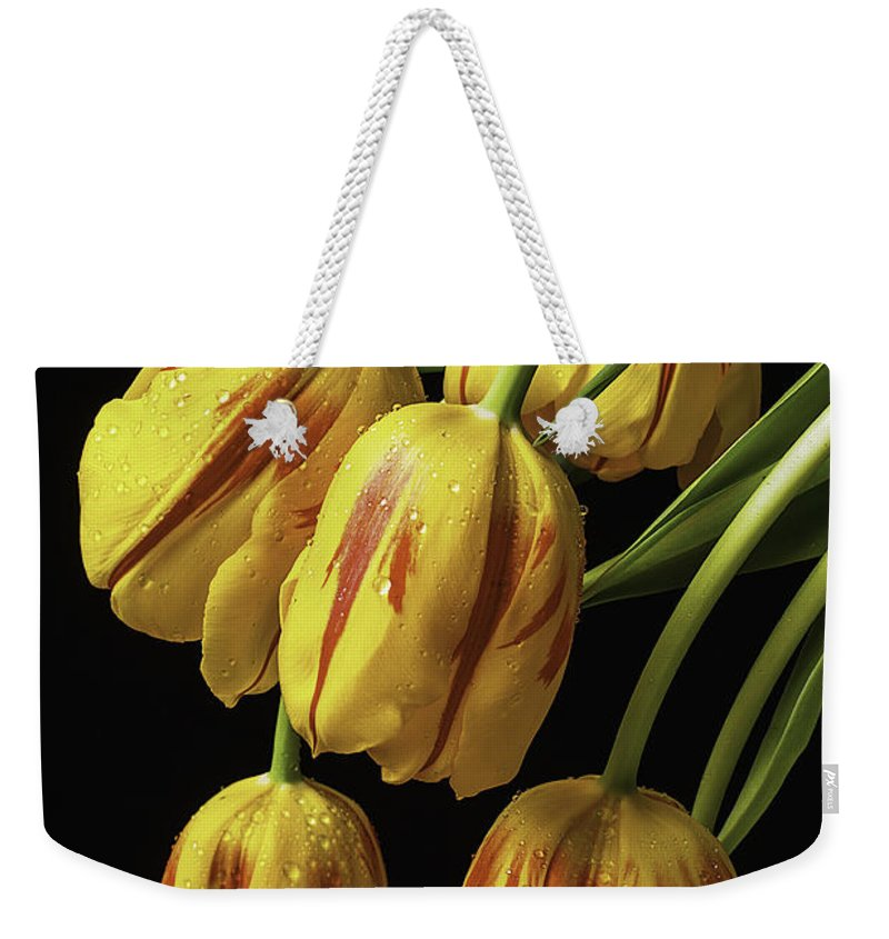 Yellow Weekender Tote Bag featuring the photograph Drooping Tulips by Garry Gay