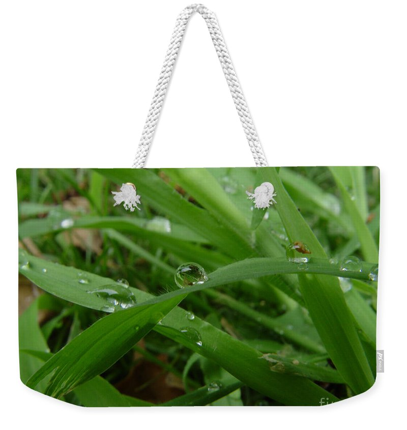 Water Droplet Weekender Tote Bag featuring the photograph Droplets 01 by Peter Piatt