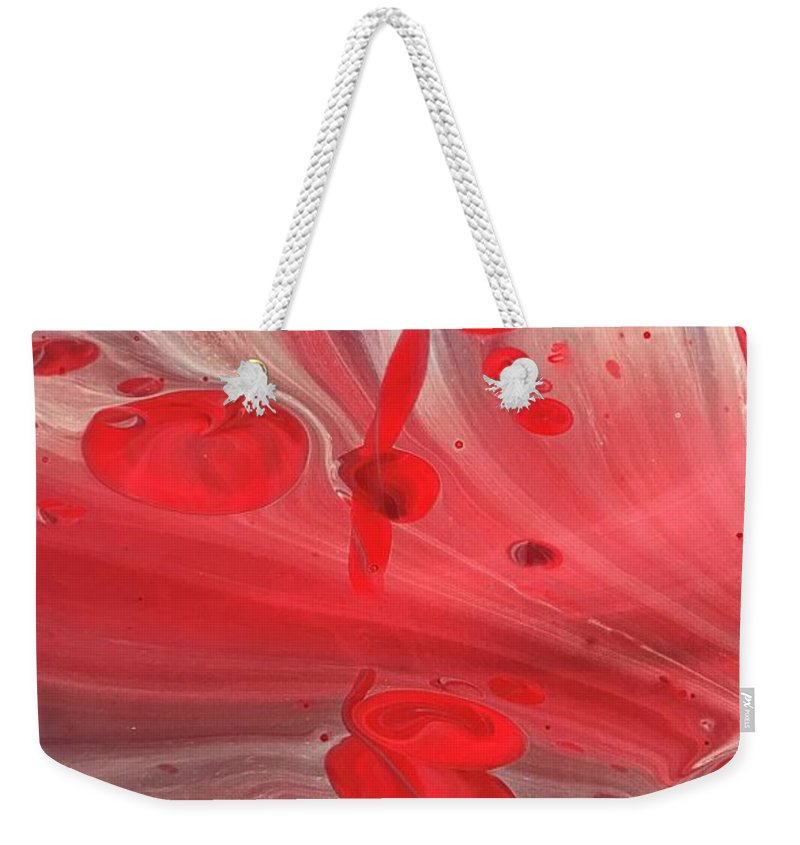 Acrylic Weekender Tote Bag featuring the painting Drops Of Red by A Billings