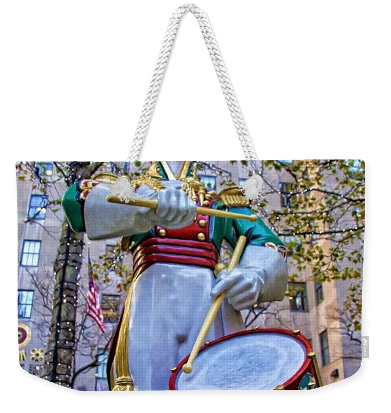 Alicegipsonphotographs Weekender Tote Bag featuring the photograph Drummer Boy In Rockefeller Center by Alice Gipson
