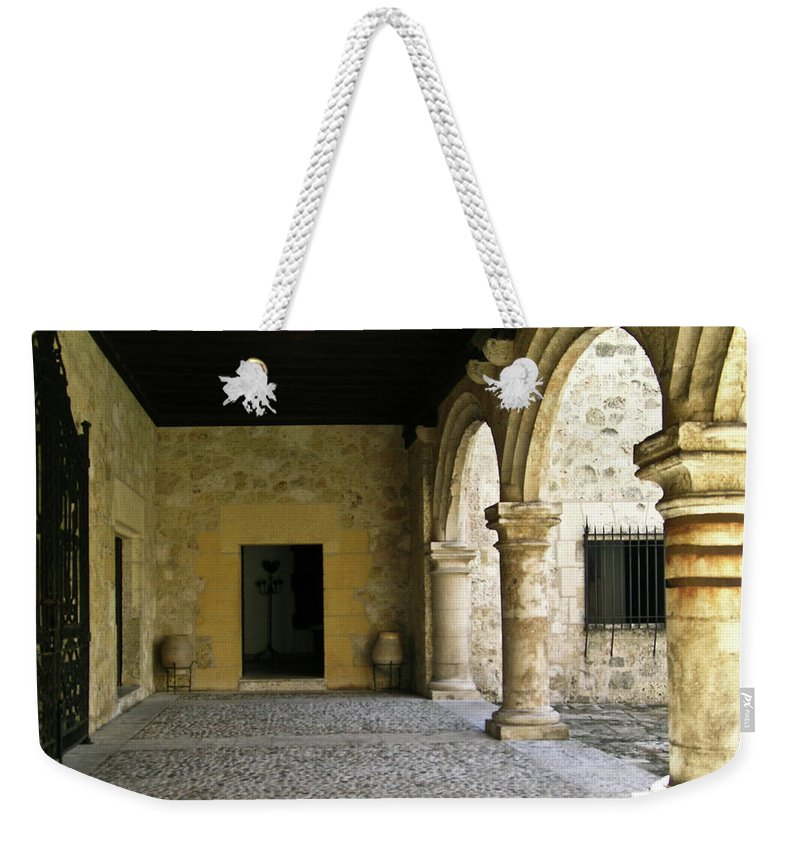 Arches Weekender Tote Bag featuring the photograph Dual Areches And Urns by Douglas Barnett