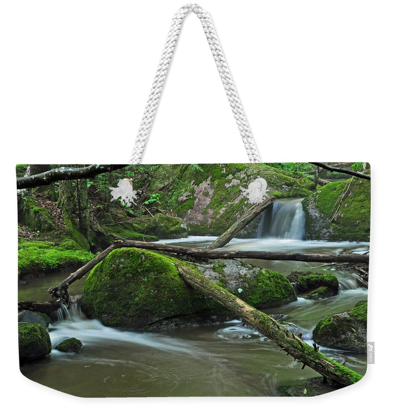 Stream Weekender Tote Bag featuring the photograph Dual Falls by Glenn Gordon