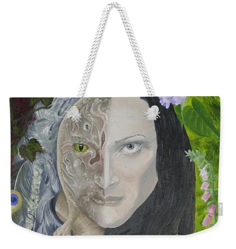 Portrait Dual Personality Flowers Hand Flute Crocodile Snake Boils Weekender Tote Bag featuring the painting Duality Of Nature by Pauline Sharp