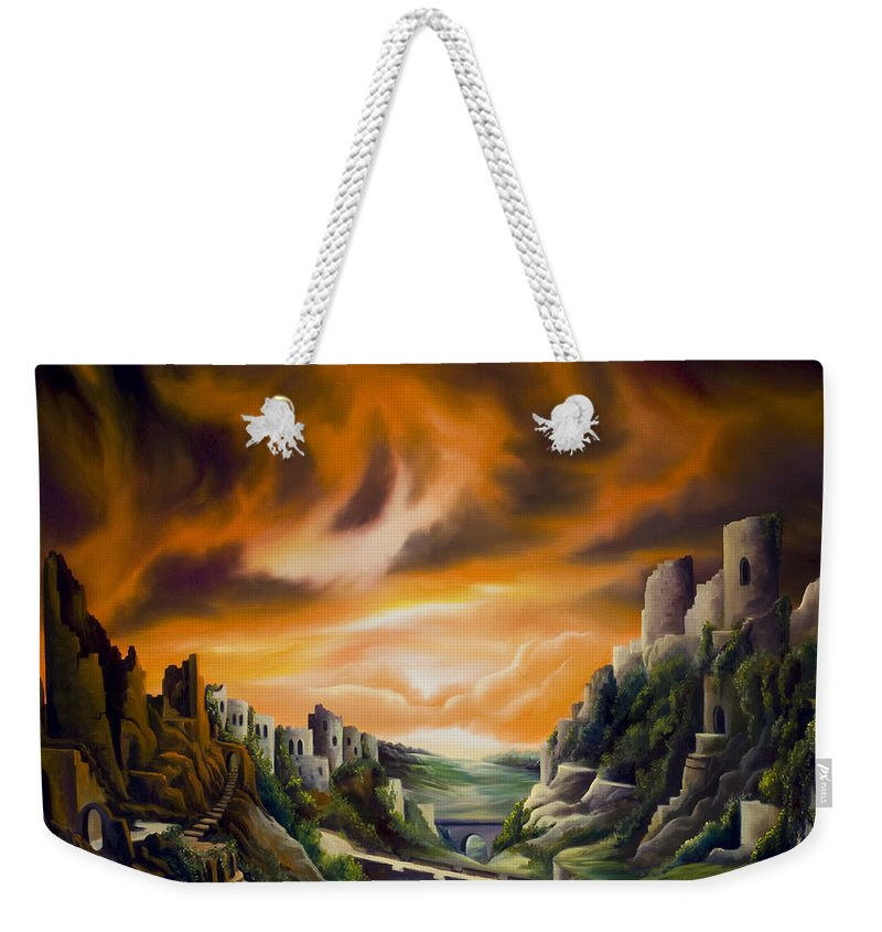 Ruins; Cityscape; Landscape; Nightmare; Horror; Power; Roman; City; World; Lost Empire; Dramatic; Sky; Red; Blue; Green; Scenic; Serene; Color; Vibrant; Contemporary; Greece; Stone; Rocks; Castle; Fantasy; Fire; Yellow; Tree; Bush Weekender Tote Bag featuring the painting DualLands by James Christopher Hill