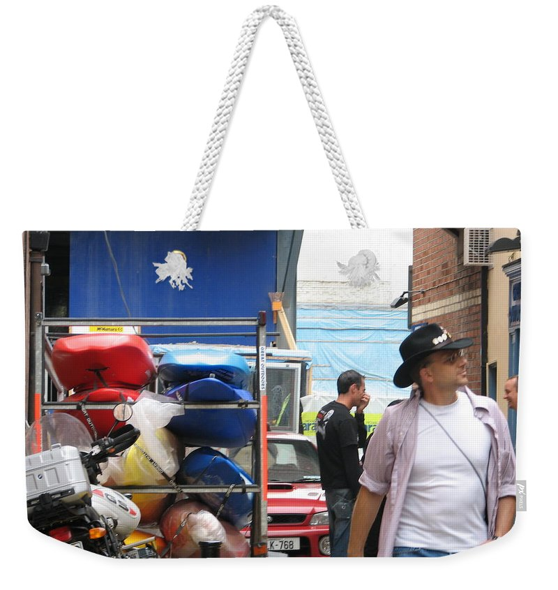 Alley Weekender Tote Bag featuring the photograph Dublin Alley by Kelly Mezzapelle
