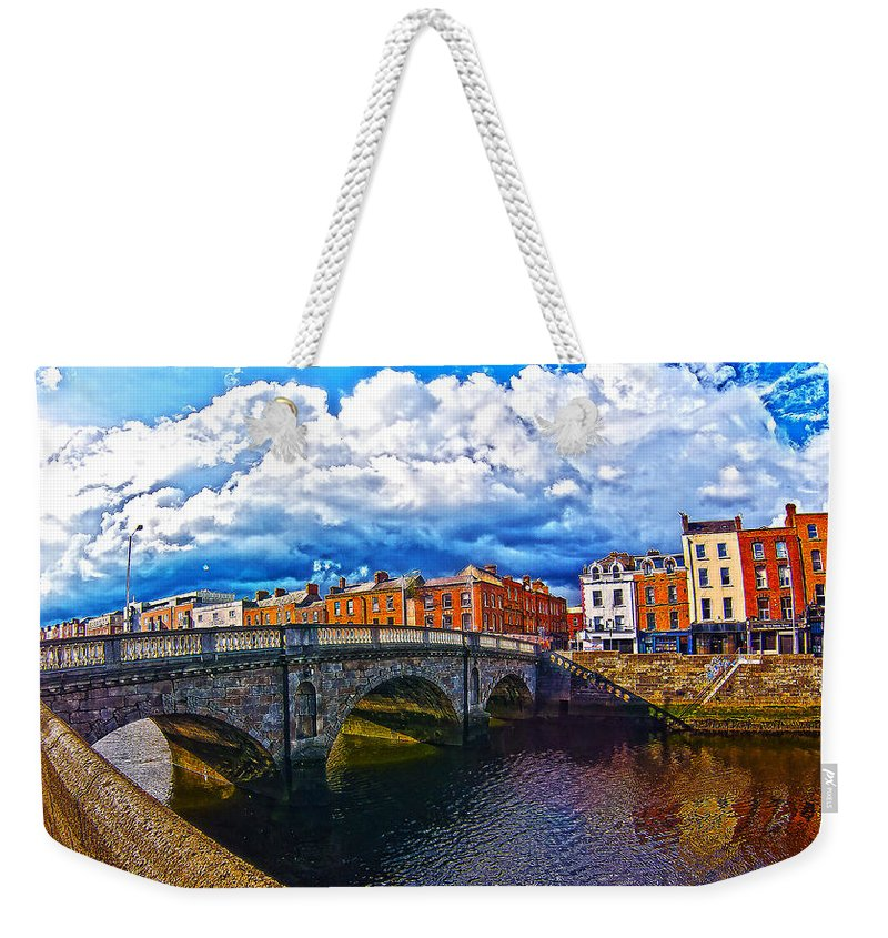 The Four Courts In Reconstruction Weekender Tote Bag featuring the photograph Dublin's Fairytales Around Grattan Bridge 2 by Alex Art and Photo