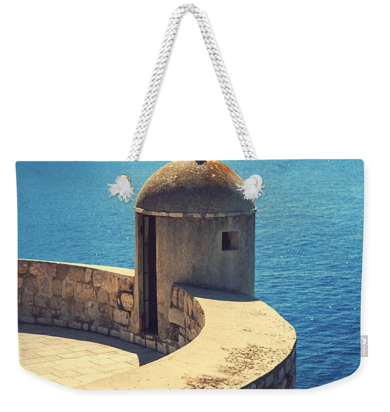 Adriatic Weekender Tote Bag featuring the photograph Dubrovnik Fortress Wall Tower by Sandra Rugina
