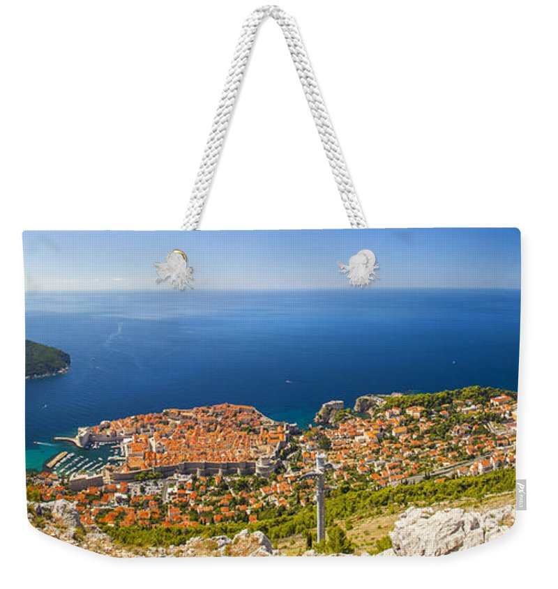 Panorama Weekender Tote Bag featuring the photograph Dubrovnik From Above Panorama by Sandra Rugina