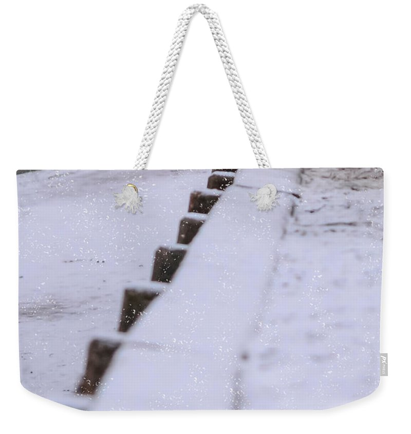 Duck Weekender Tote Bag featuring the photograph Duck In The Snow by Jan M Holden