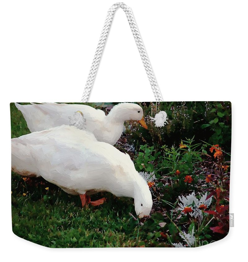 Ducks Weekender Tote Bag featuring the painting Ducks In The Garden At The Shipwright's Cafe by RC DeWinter
