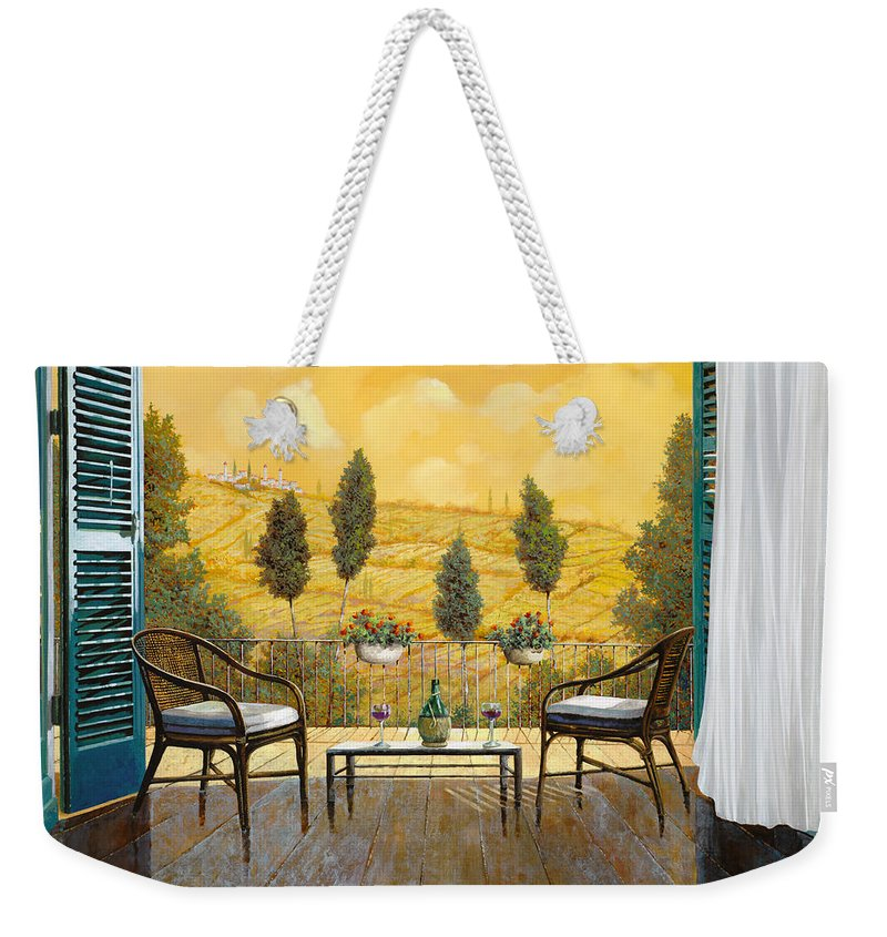 Terrace Weekender Tote Bag featuring the painting due bicchieri di Chianti by Guido Borelli