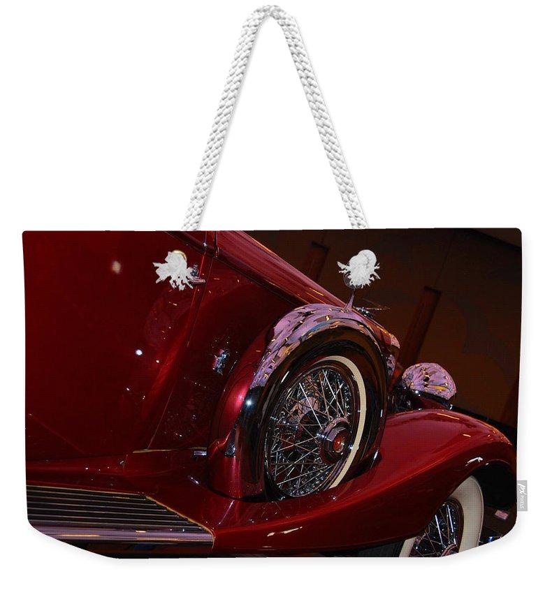 Cars Weekender Tote Bag featuring the photograph Duesenberg Side View by Susanne Van Hulst