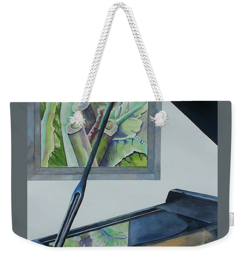 Piano Weekender Tote Bag featuring the painting Duet by Celene Terry