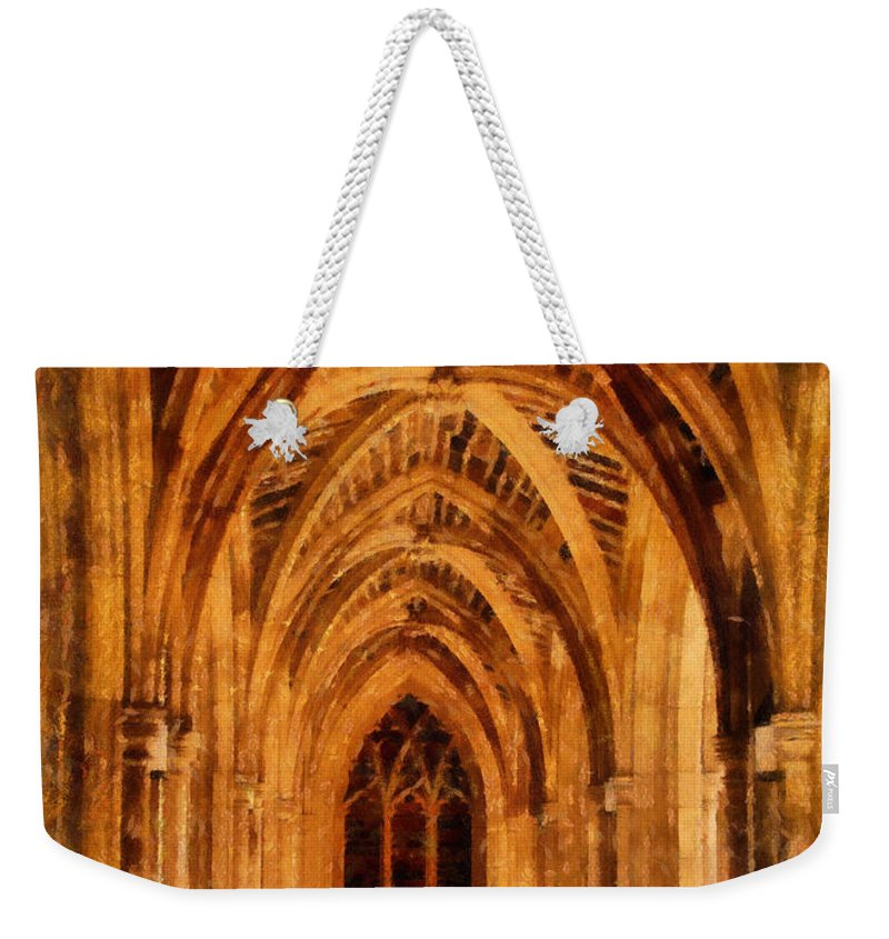 Duke University Weekender Tote Bag featuring the photograph Duke Chapel by Betsy Foster Breen