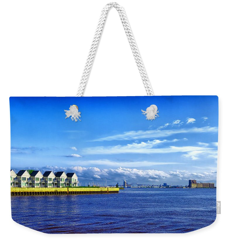 Duluth Weekender Tote Bag featuring the photograph Duluth Minnesota Harbor by Linda Tiepelman