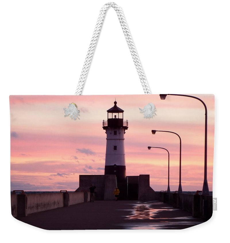 Lighthouses Weekender Tote Bag featuring the photograph Duluth Sunrise by Alison Gimpel
