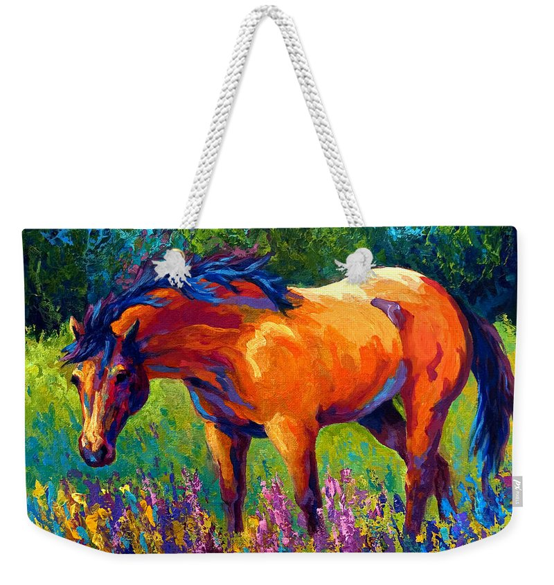 Horses Weekender Tote Bag featuring the painting Dun Mare by Marion Rose