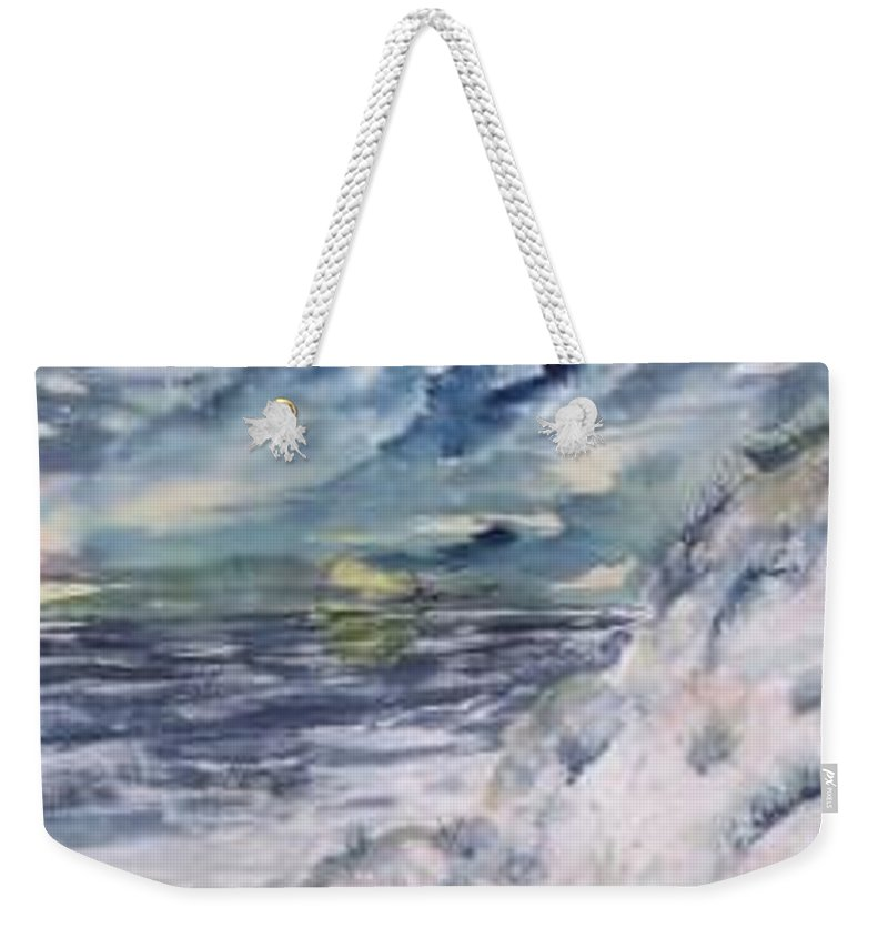 Seascape Weekender Tote Bag featuring the painting Dunes 2 seascape painting poster print by Derek Mccrea