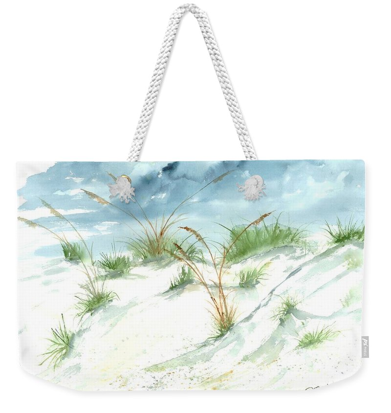 Beach Weekender Tote Bag featuring the painting Dunes 3 Seascape Beach Painting Print by Derek Mccrea