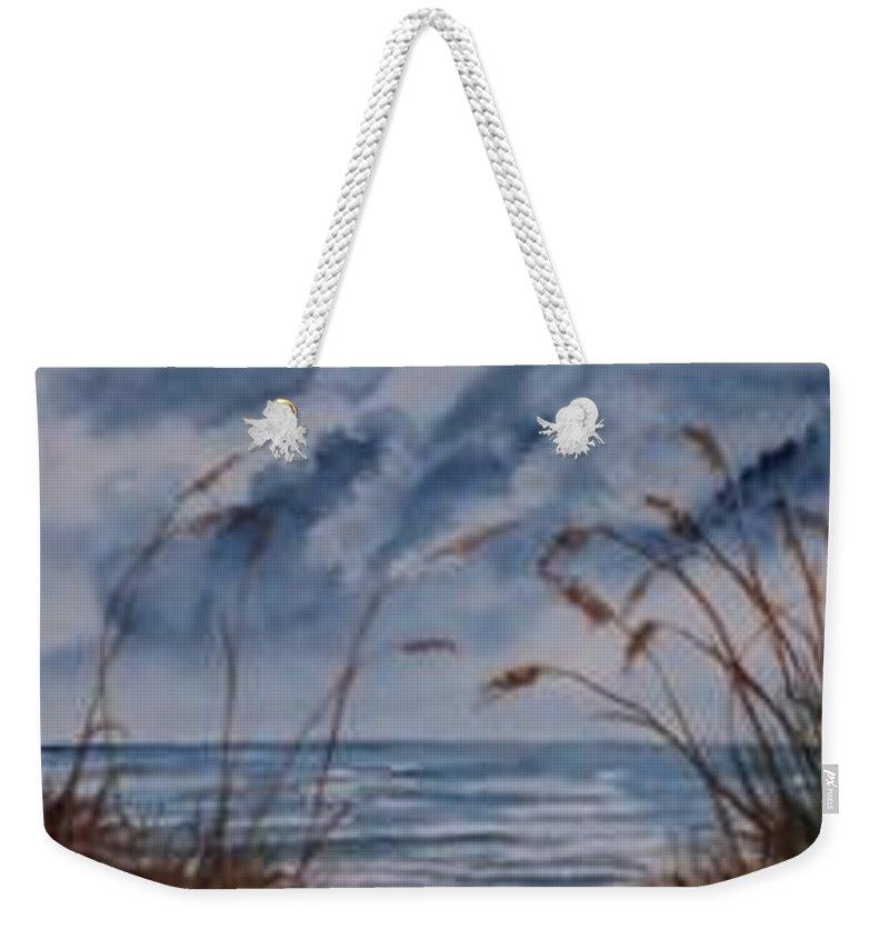 Watercolor Landscape Painting Seascape Beach Weekender Tote Bag featuring the painting Dunes Seascape Fine Art Poster Print Seascape by Derek Mccrea