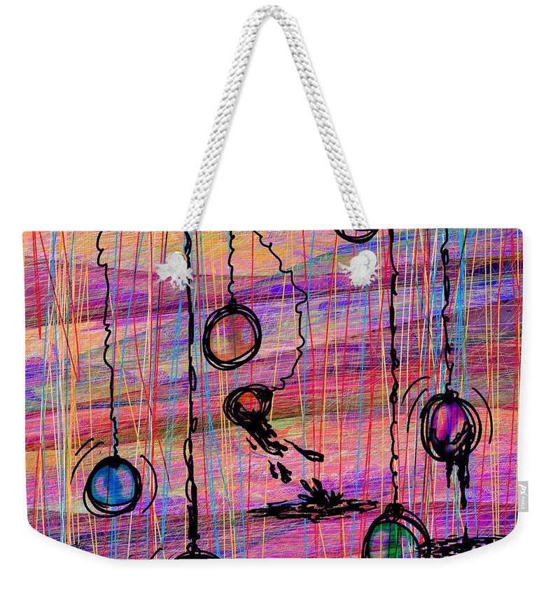 Abstract Weekender Tote Bag featuring the digital art Dunking Ornaments by Rachel Christine Nowicki