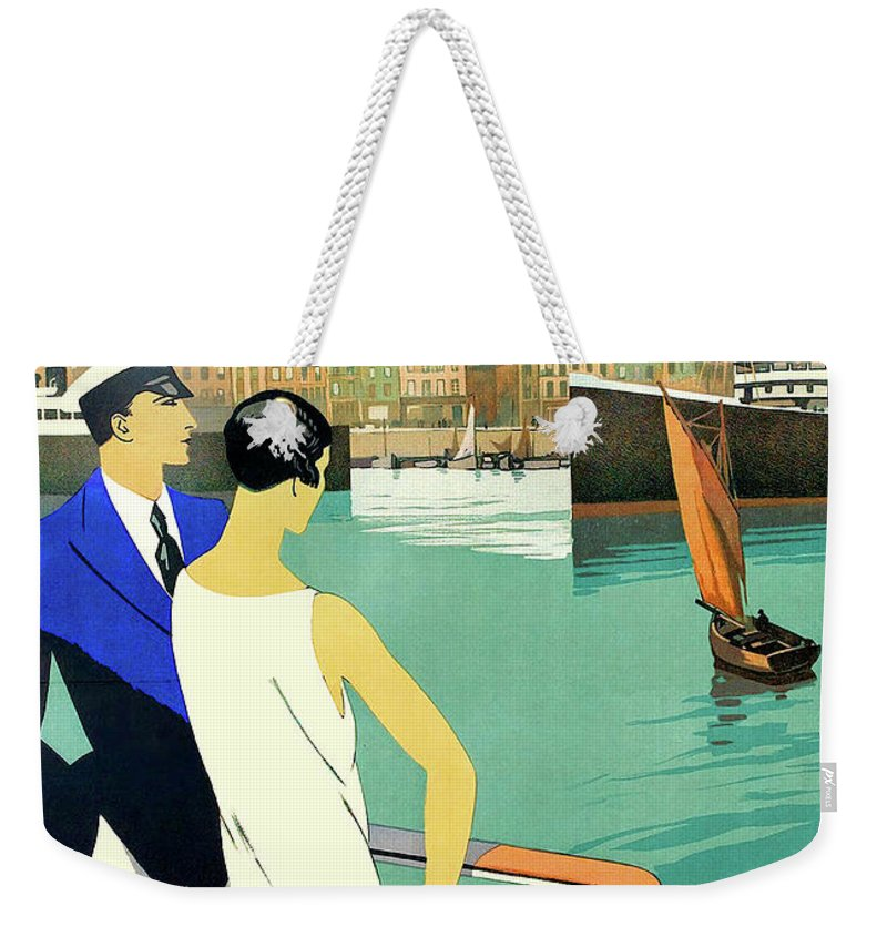 Dunkirk Weekender Tote Bag featuring the painting Dunkirk City, View From The Tourist Boat by Long Shot