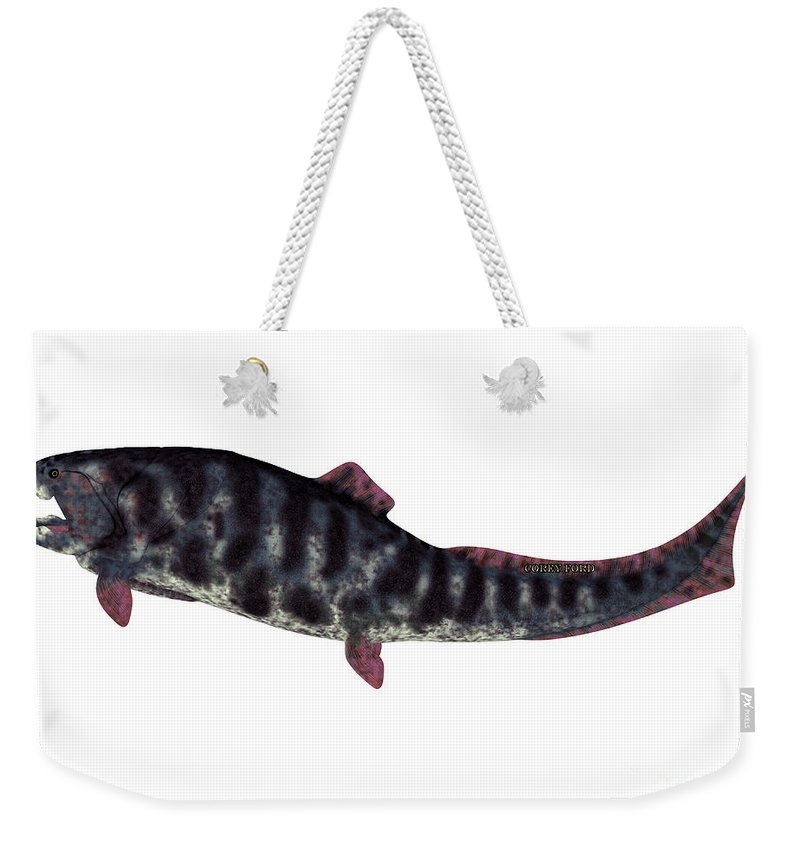 Dunkleosteus Weekender Tote Bag featuring the painting Dunkleosteus Devonian Fish by Corey Ford