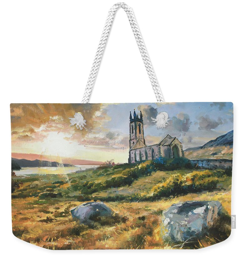Sun Light Weekender Tote Bag featuring the painting Dunlewy Church by Conor McGuire