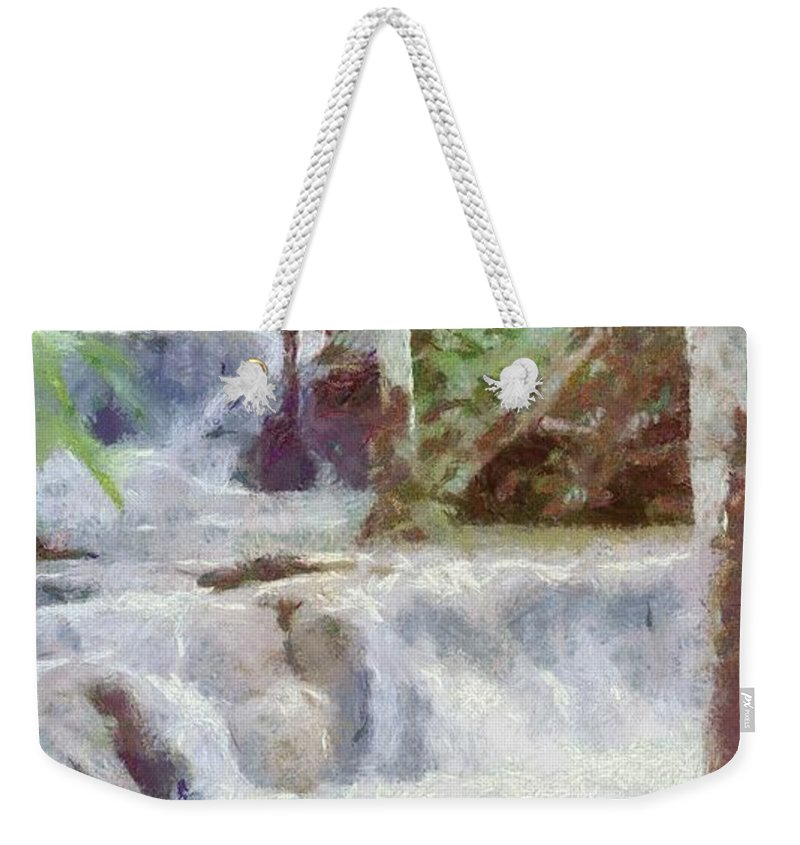 Dunn River Weekender Tote Bag featuring the painting Dunn River Falls by Jeffrey Kolker