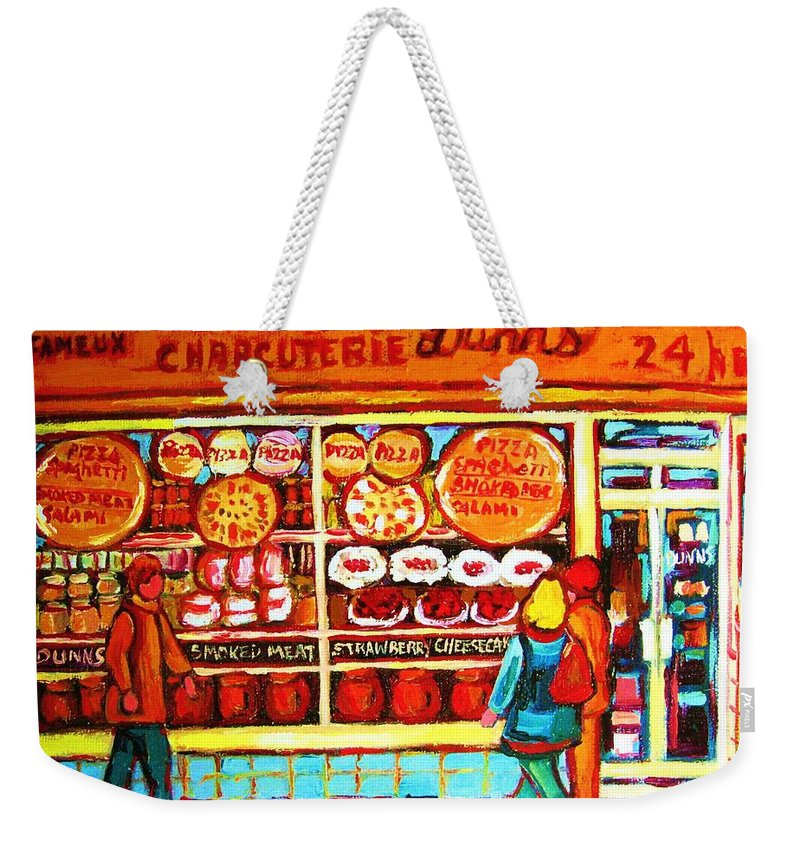 Montreal Weekender Tote Bag featuring the painting Dunn's Treats And Sweets by Carole Spandau