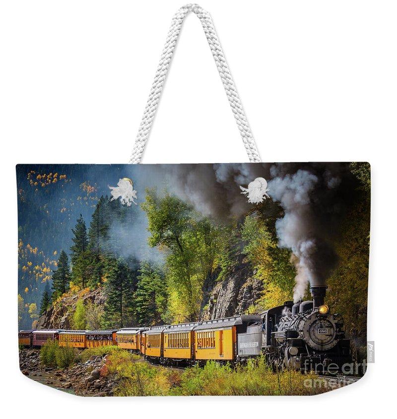 America Weekender Tote Bag featuring the photograph Durango-silverton Narrow Gauge Railroad by Inge Johnsson