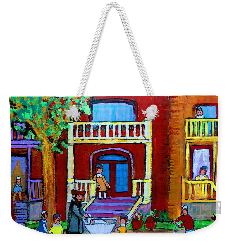 Judaica Weekender Tote Bag featuring the painting Durocher Street Montreal by Carole Spandau