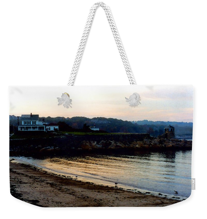 Seaside Weekender Tote Bag featuring the painting Dusk At Rockport by Paul Sachtleben