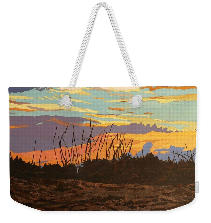 Sunset Weekender Tote Bag featuring the painting Dusk Fishing, Hutchinson Island by Leah Tomaino