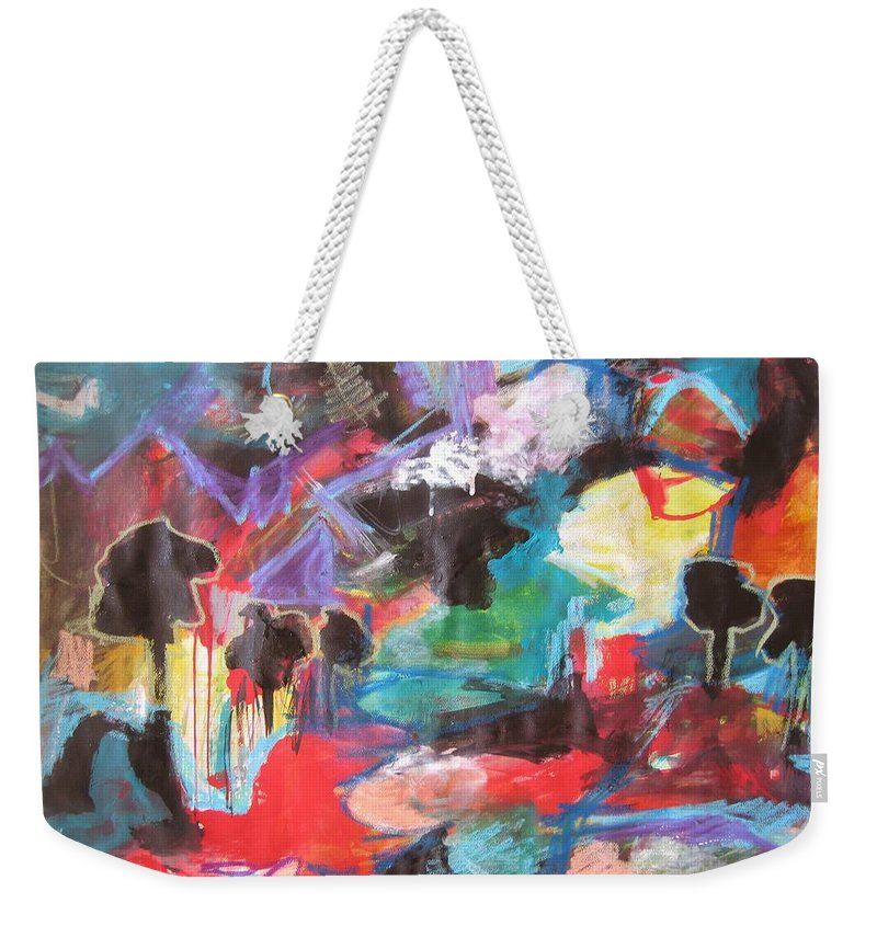 Original Weekender Tote Bag featuring the painting dusk in Bay Roberts by Seon-Jeong Kim
