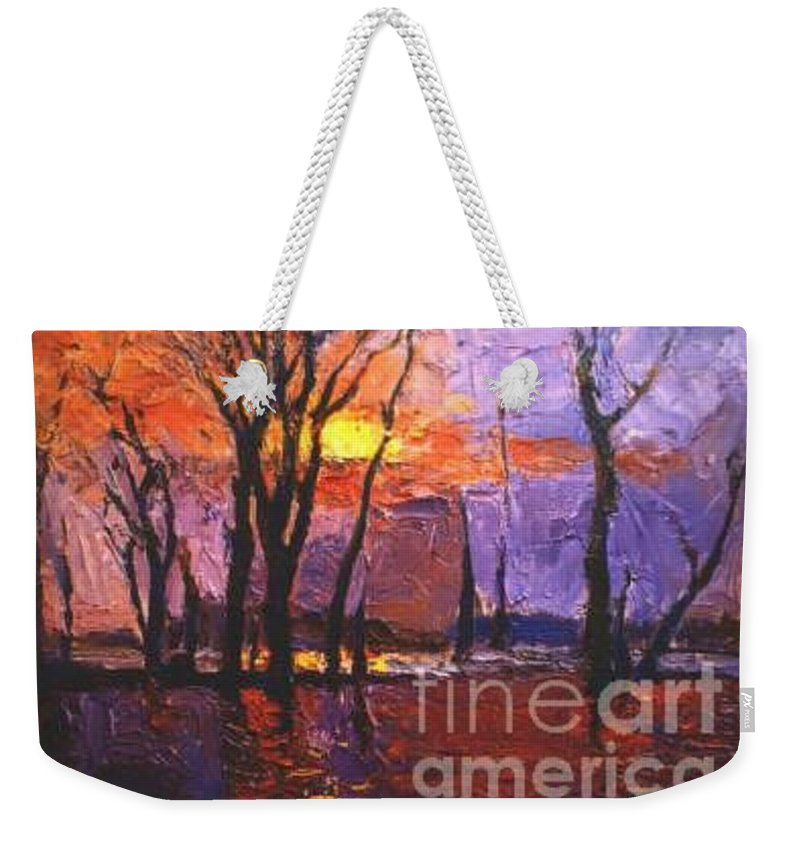 Dusk Weekender Tote Bag featuring the painting Dusk by Meihua Lu