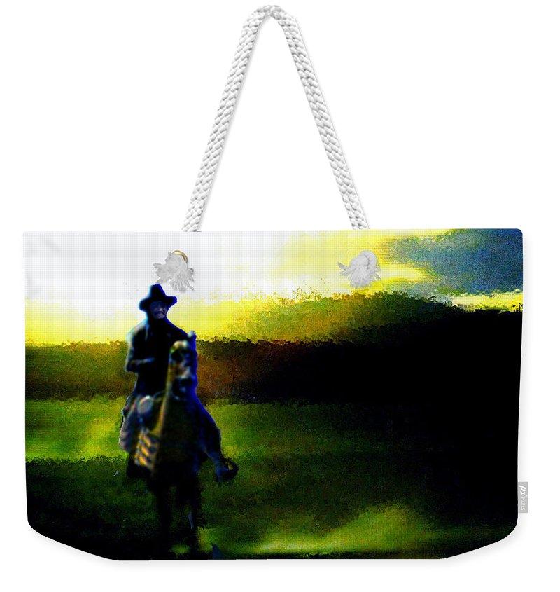 Dusk Weekender Tote Bag featuring the digital art Dusk Rider by Seth Weaver