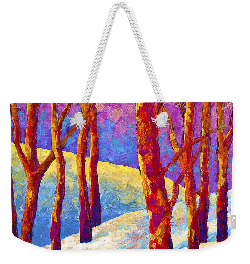 Trees Weekender Tote Bag featuring the painting Dusk's Veil by Marion Rose