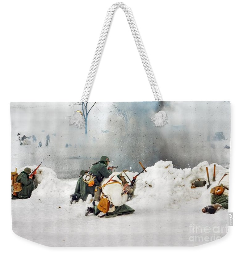 Action Weekender Tote Bag featuring the photograph Dust From Explosion Fly To Photo Lens by Vadzim Kandratsenkau