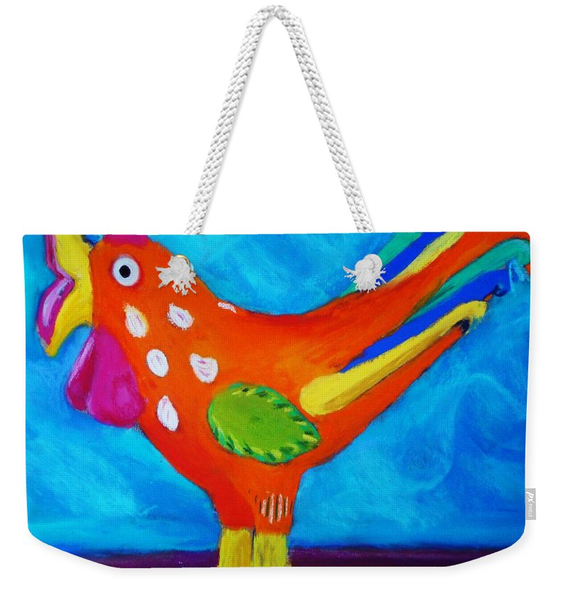 Bird Weekender Tote Bag featuring the pastel Dusty's Chick by Melinda Etzold