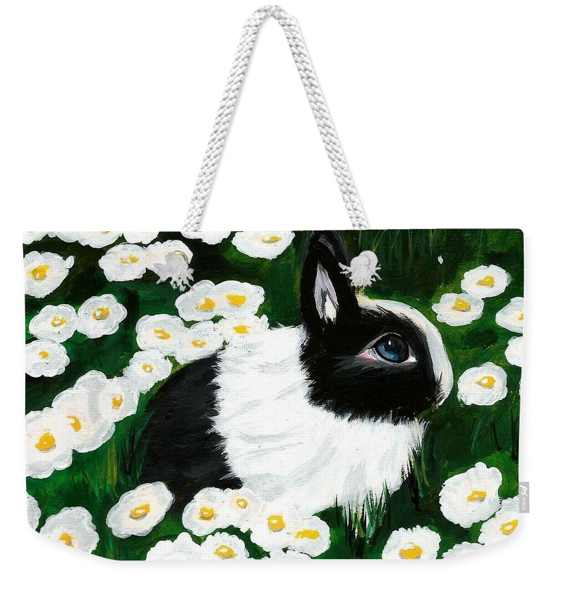 Dutch Bunny Daisies Acrylic Painting Black White Spring Easter Rabbit Impressionism Weekender Tote Bag featuring the painting Dutch Bunny with Daisies by Monica Resinger